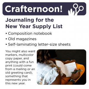 Supply list: notebook, self-laminating letter size sheets, old magazines, art supplies